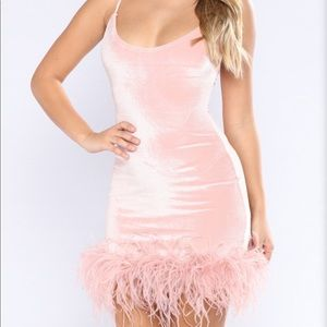 Light blush party dress with feathers